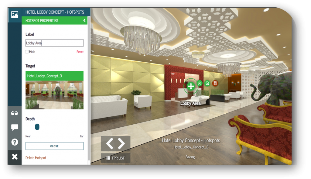 Yulio VR Experience of hotel lobby showing Hotspots vr design tip 2