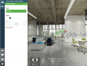 Screen shot of office VR image with Yulio vr hotspots editor