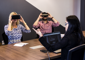 Mobile VR headsets in a business meeting