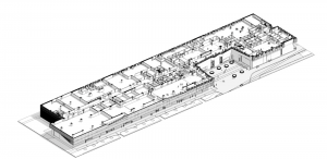 A traditional black and white cutaway drawing from the original design of the large building