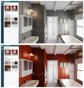 VR hotspots highlighting the ability to show design options for interior designers and homeowners
