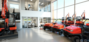 VR design in a dealership showroom shows the feasibility of equipment in a human space