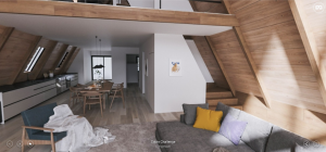 Wooden cabin inside, architectural visualization by Alex Leiva