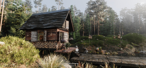 Cabin in the forest, Wooden cabin inside, architectural visualization by Ana Camargo