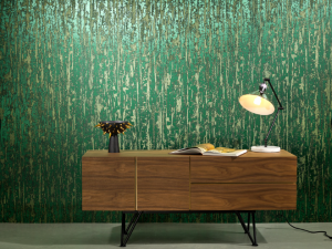 Commercial design incorporates metallics and organic design to create visual stimuli in wall coverings