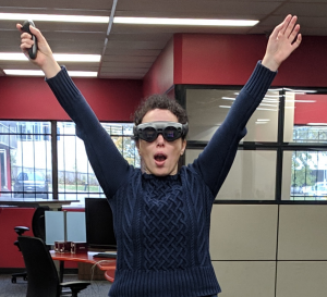 Our Yulio VR Employee Dani in VR goggles