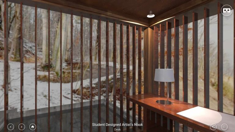 Student created artist's nook model in VR