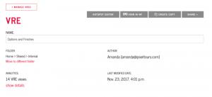 Analytics page details