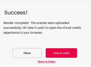 Successful render upload, Rhino