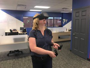 Trying on the Oculus Quest VR headset