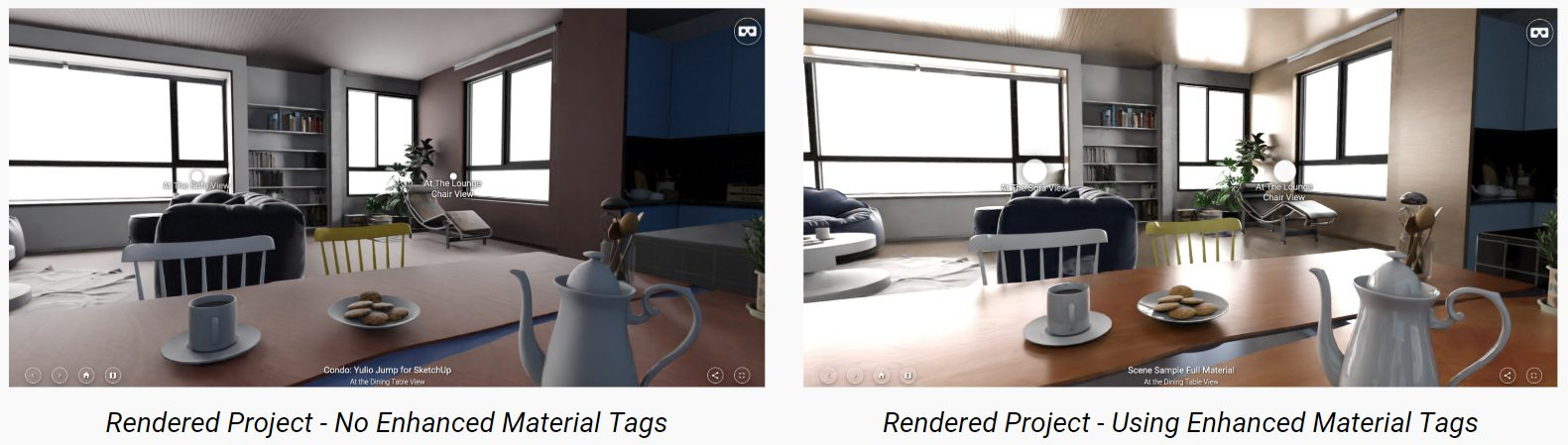 Material tags comparison